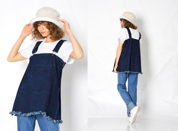 Y2K Vintage Blue Denim Dungarees Womens Top Size … - image 1