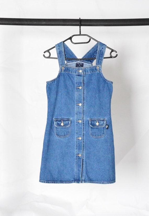Y2K Blue Denim Dungaree Mini Dress Petite Size XS - image 2