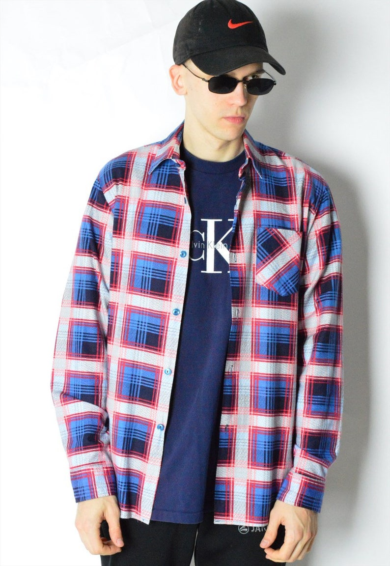 Vintage 90s Red Blue Check Long Sleeve Mens Shirt M Size Medium