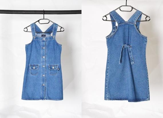 Y2K Blue Denim Dungaree Mini Dress Petite Size XS - image 1