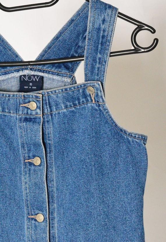 Y2K Blue Denim Dungaree Mini Dress Petite Size XS - image 3