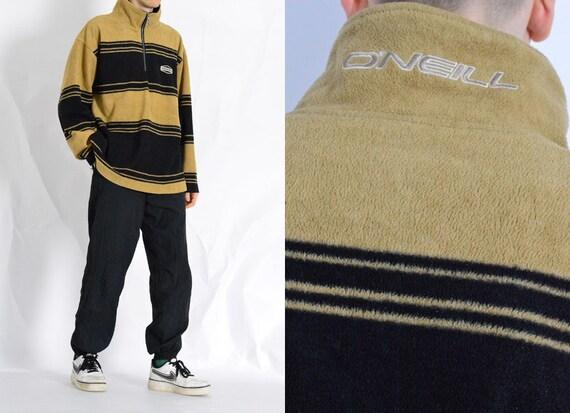 Vintage 90s O'Neill Beige Black Striped Zipper Fle