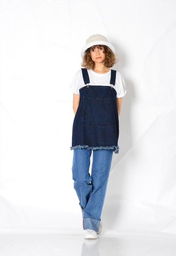 Y2K Vintage Blue Denim Dungarees Womens Top Size … - image 2