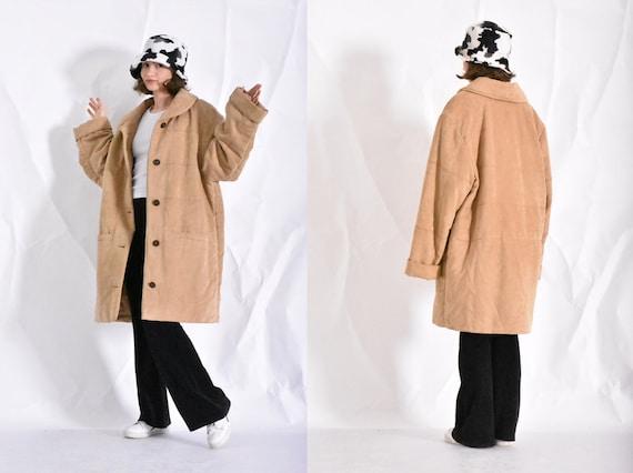 Vintage 90s Beige Coat Womens Minimalist Jacket Si