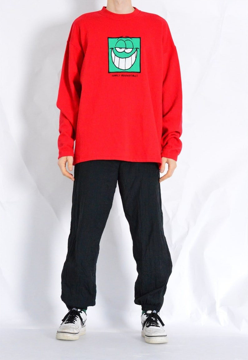 XXL Vintage 90s Red Green Face Sweatshirt Size L