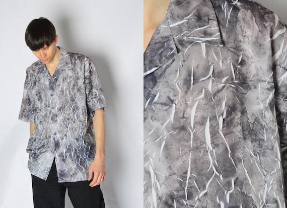 Vintage 90s Grey Tie Dye Crinkled Lightning Grunge