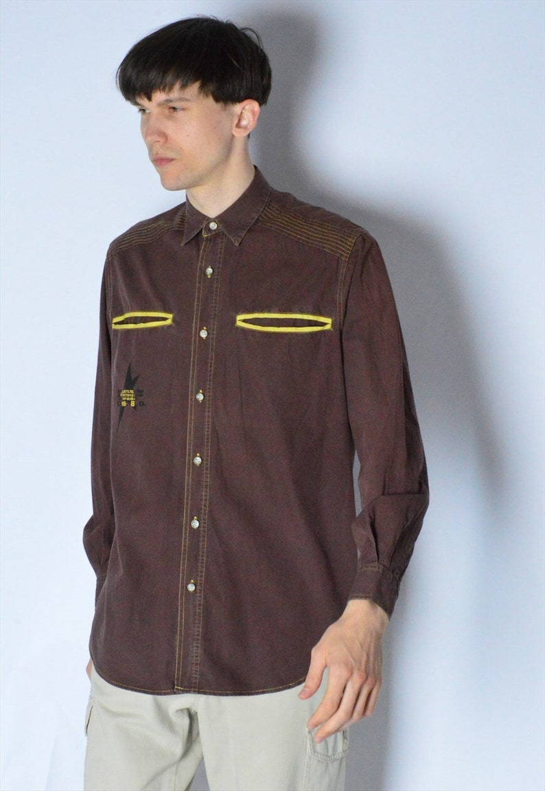 Vintage 90s Brown Graphic Grunge Long Sleeve Shirt Size S