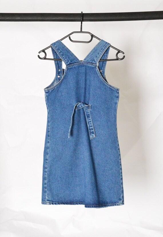 Y2K Blue Denim Dungaree Mini Dress Petite Size XS - image 5
