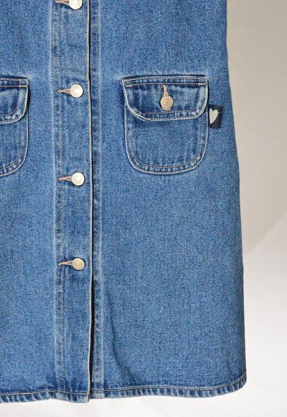 Y2K Blue Denim Dungaree Mini Dress Petite Size XS - image 4