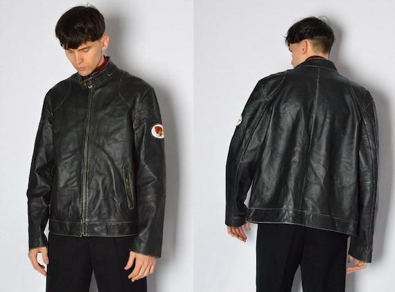 Vintage 90s Faded Black Distressed Grunge Leather