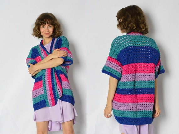 Vintage 90s Colourful Crochet Striped Cardigan Wom