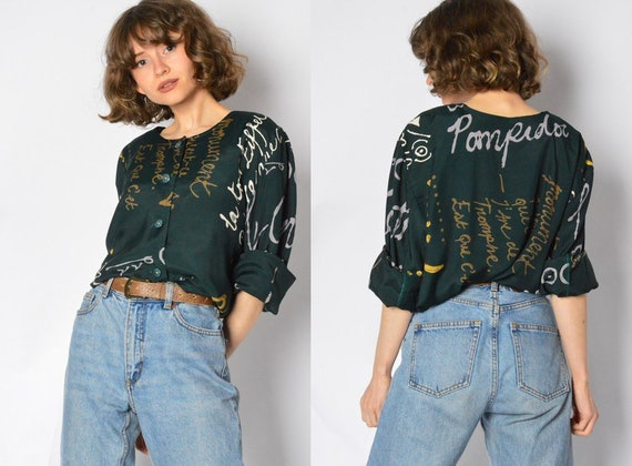 Vintage 80s Forest Green Graphic Text Blouse Women