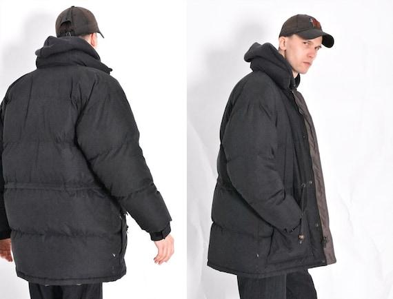 Vintage 80s Black Winter Puffer Jacket Mens Coat S