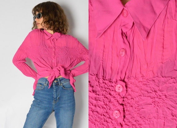 Vintage 90s Pink Crinkled Blouse Shirt Womens Top