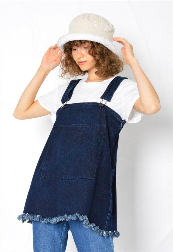 Y2K Vintage Blue Denim Dungarees Womens Top Size … - image 5
