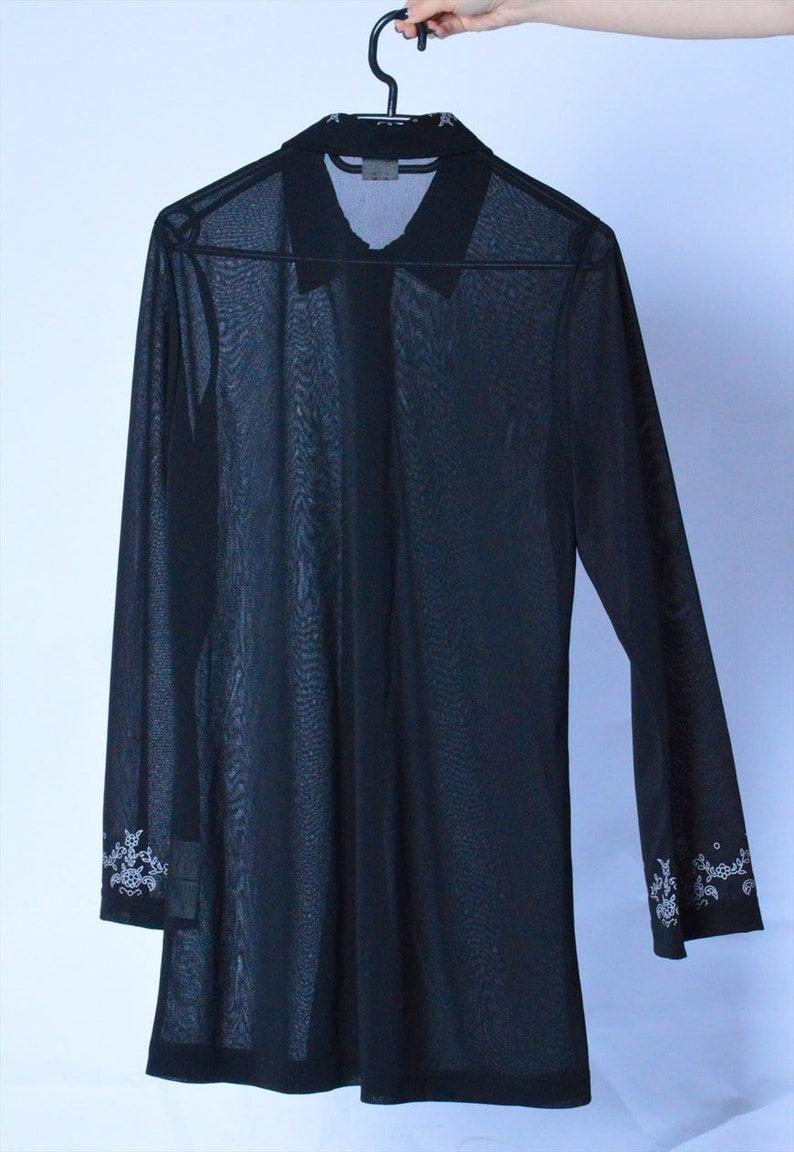 Vintage 90s Black See Through Flower Long Sleeve Festival Boho Blouse M Size Medium