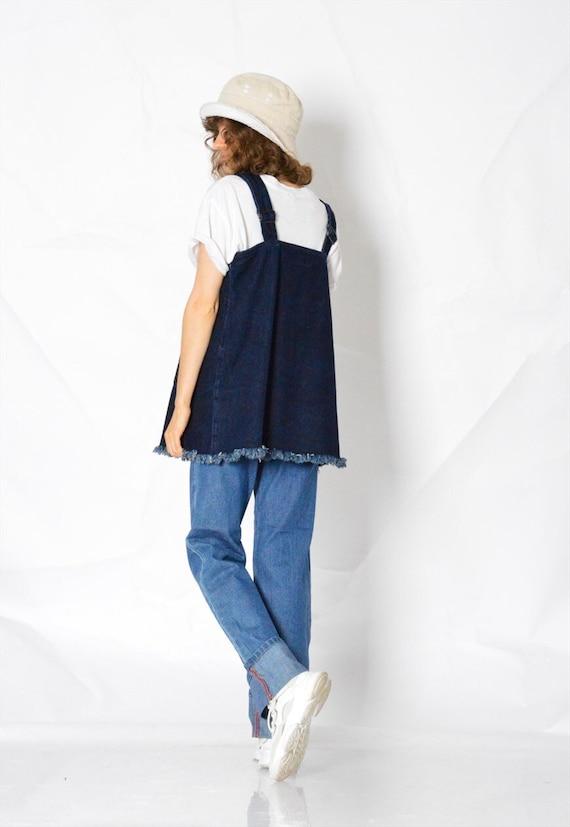 Y2K Vintage Blue Denim Dungarees Womens Top Size … - image 3