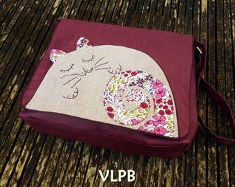 f5f6b799020c Grand sac besace lin enduit violet et Appliqué MY CAT lin naturel et coton  style Liberty violet