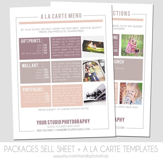 instant download packages sell sheet a la carte pricing