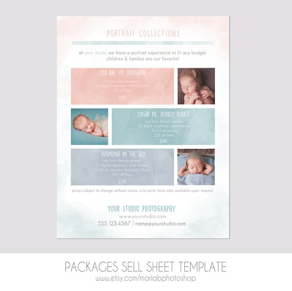 INSTANT DOWNLOAD Packages Sell Sheet A la Carte Pricing | Etsy