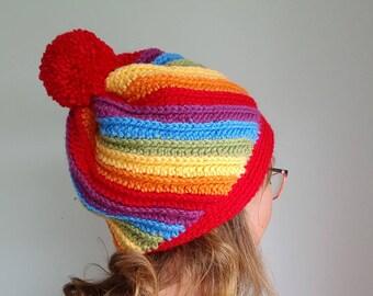 0e93b60101e Rainbow kids bobble hat