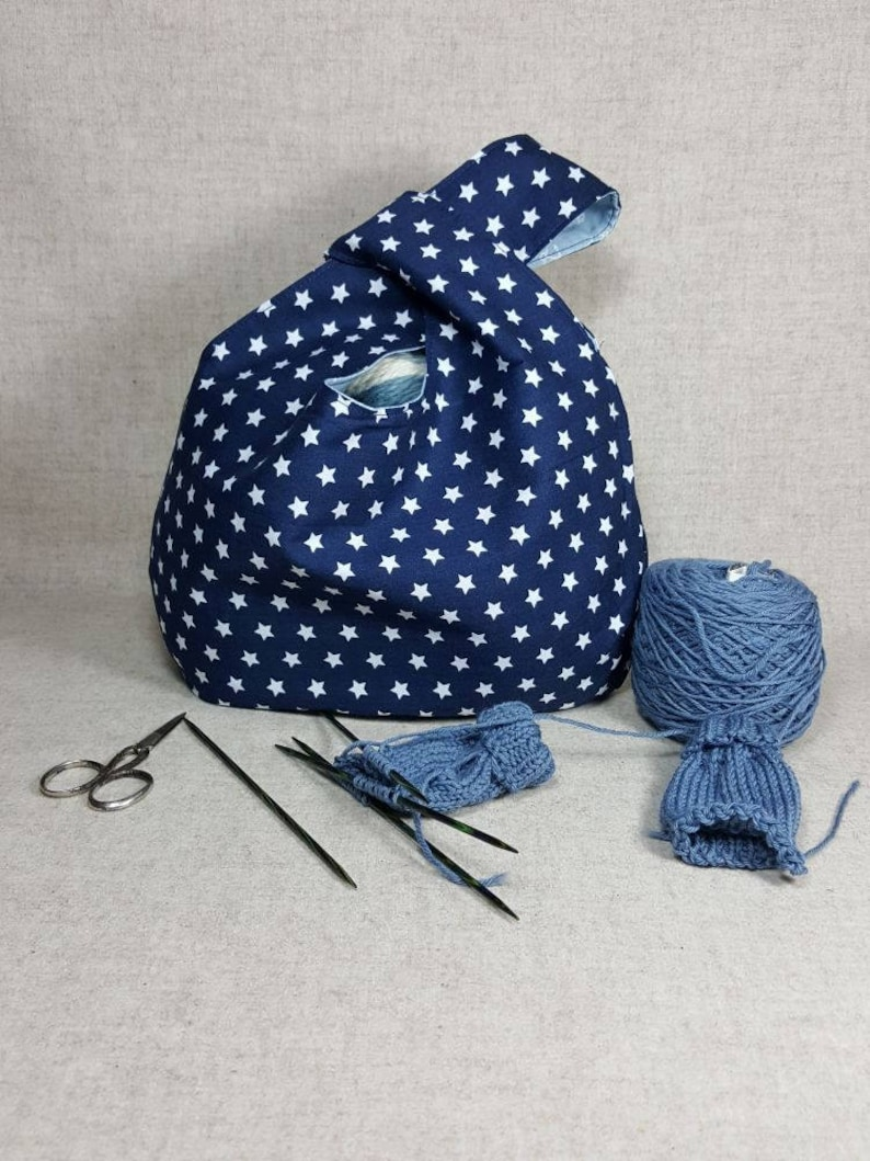 maritime blue white reversible knot bag xmas gift for knitters craft bag Crochet Project Bag with with anchors and stars