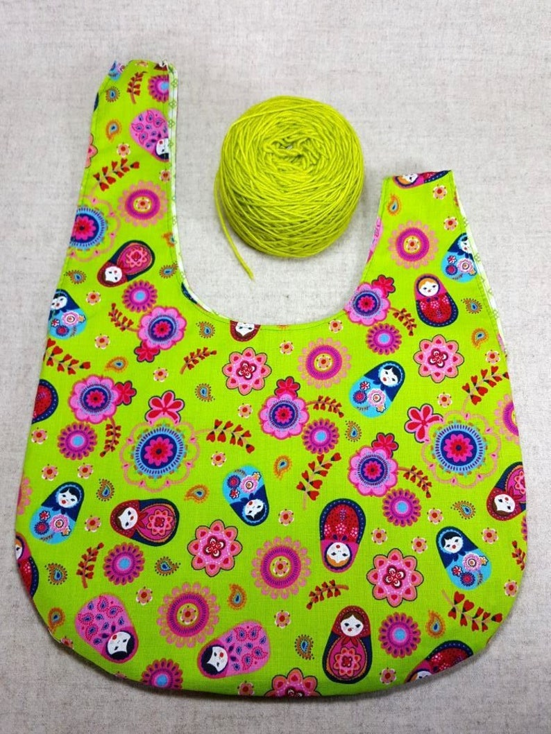 toy bag for kids Knitting Project Bag gift for girls yarn crafters bags reversible japanese knot bag green with matroshkas