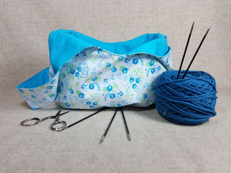 Yarn Bag small with spoons in beige and grey knitting storage bag knitting project bag flowers yarn crafters bag crochet bag sunflower