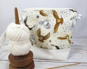"Zipper project bag for knitting ""magic owls"", crochet project bag owl, knitting accessory, notion bag magic"