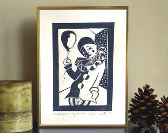 "ORIGINAL LINOCUT Print, 6"" x 8"", Small size Art, clown, Pierrot, wall decor, wall art"
