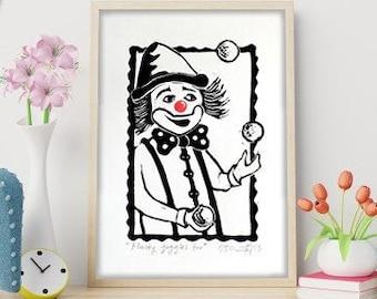 "ORIGINAL LINOCUT Print, 6"" x 8"", Small size Art, clown, magic, rabbit, wall decor, nursery gift"
