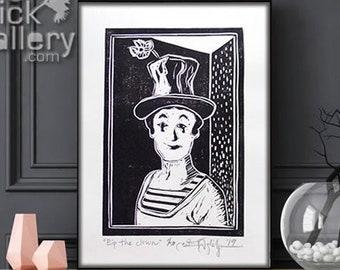"ORIGINAL LINOCUT Print, 6"" x 8"", Small size Art, Marcel Marceau, Bip the Clown, circus, mime, famous clown"