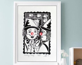 "ORIGINAL LINOCUT Print, 6"" x 8"", Small size Art, clown, circus, wall decor, nursery gift"