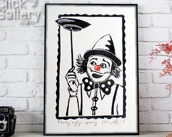"ORIGINAL LINOCUT Print, 6"" x 8"", Small size Art, clown, balloons, wall decor, nursery gift"