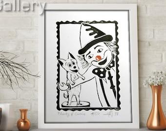 "ORIGINAL LINOCUT Print, 6"" x 8"", Small size Art, clown, dog, wall decor, nursery gift"