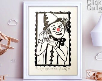 "ORIGINAL LINOCUT Print, 6"" x 8"", Small size Art, clown, wall decor, nursery gift"