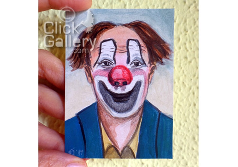 ORIGINAL CLOWN PAINTING miniature portrait tiny art image 0