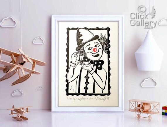 Clown  linocut