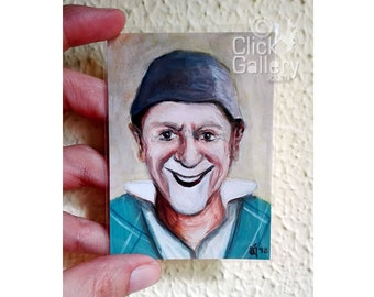 """ORIGINAL CLOWN PAINTING, miniature portrait, tiny art, 2,5"""" x 3.5"""", aceo, acrylic, Artist Trading Card, collectible, circus, gift"""