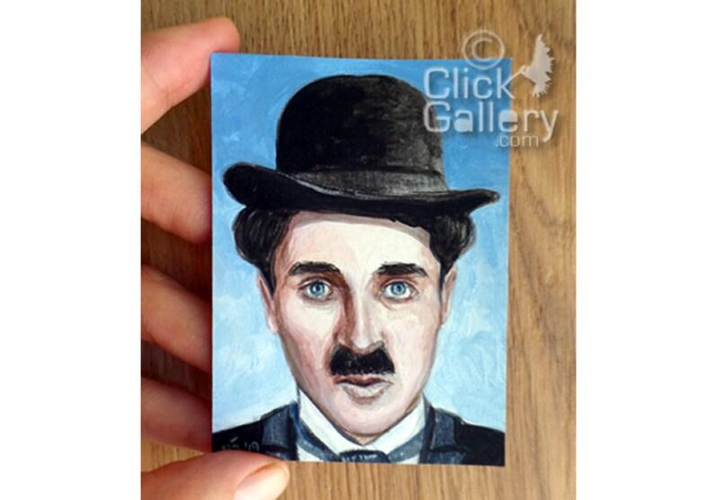 ORIGINAL CLOWN PAINTING miniature portrait tiny art image 0