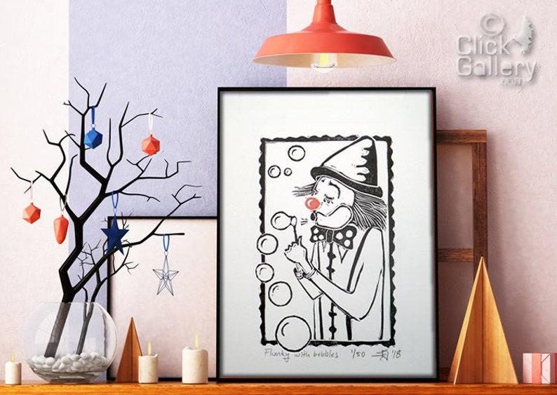 SALE ORIGINAL LINOCUT Print 6 x 8 Small size image 0