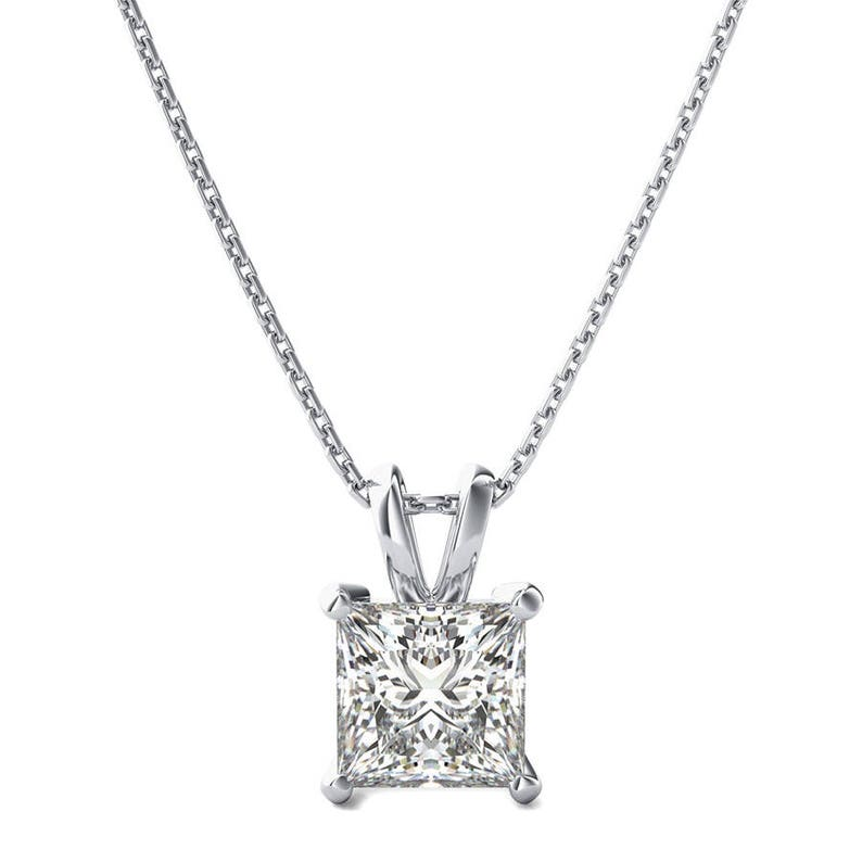 a5ad862f40156 3/4 ct. Princess Cut Diamond Necklace