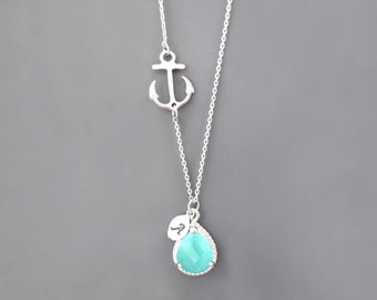 Silver Personalized Birthday Anchor Beautiful Necklace Marine Wedding Gift Stone Sideways Letter Initial Friends Modern Cubic