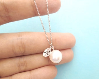 Custom hand stamped italic font Initial 10mm disc silver necklace