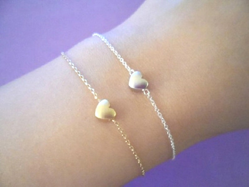 Birthday Dainty Christmas Jewelry Love Mom Gold filled Jewelry Heart Bracelet Gift Sterling silver chain Friendship Tiny