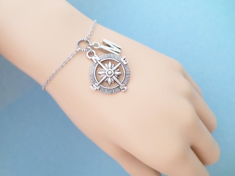 Gift Friendship Best friend Letter Personalized Bracelet Anklet Jewelry Birthday Earth Initial Silver Sail Compass