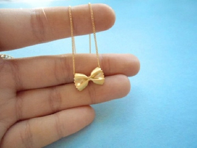 Cute gift Pasta necklace Farfalle necklace Ribbon necklace image 0