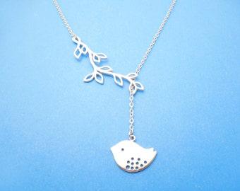 Sideways, Branch, Bird, Silver, Necklace, Lariat, Dangling, Sparrow, Tree, Jewelry, Bird, Branch, Combo, Birthday, Best friend, Gift