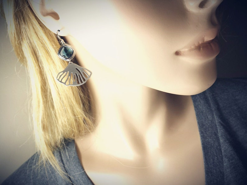 Ariel Seashell Fan blue glass Birthday Gift Earrings Silver Anniversary Party Modern Conch Earrings Bridesmaids