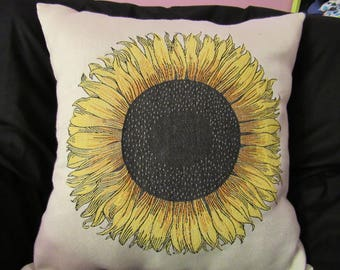 "Yellow Sunflower Woven Decorator Pillow Cover 20"" x 20"""
